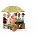 Piknik asztal napernyővel (natúr)