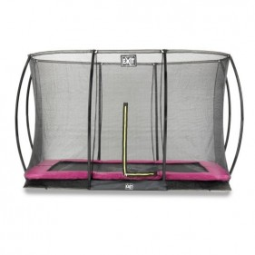 EXIT Silhouette Ground 244*366 cm szabadtéri derékszögű spirálrugós süllyesztett trambulin - pink