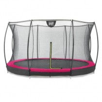 EXIT Silhouette Ground 427 cm szabadtéri kör spirálrugós süllyesztett trambulin - pink