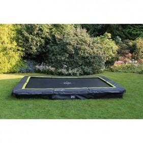 EXIT Silhouette Ground 214*305 cm szabadtéri derékszögű spirálrugós süllyesztett trambulin - fekete