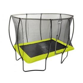 EXIT Silhouette szabadtéri derékszögű spirálrugós talajfelszín feletti trambulin 214x305cm zöld