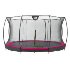 EXIT Silhouette Ground + Safetynet szabadtéri kör spirálrugós süllyesztett trambulin ø427cm rózsaszín