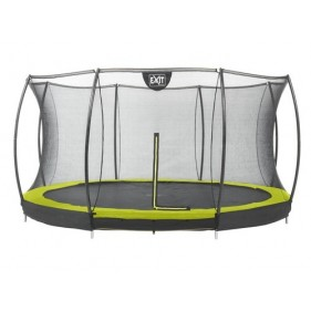 EXIT Silhouette Ground + Safetynet szabadtéri kör spirálrugós süllyesztett trambulin ø427cm zöld