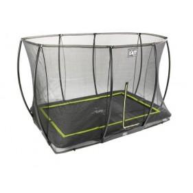 EXIT Silhouette Ground + Safetynet Rect. szabadtéri derékszögű spirálrugós süllyesztett trambulin  214x305 fekete