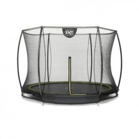 EXIT Silhouette Ground 244 cm szabadtéri kör spirálrugós süllyesztett trambulin - fekete