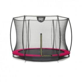 EXIT Silhouette Ground 305 cm szabadtéri kör spirálrugós süllyesztett trambulin - pink