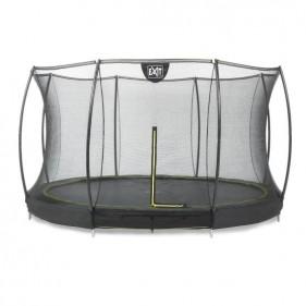 EXIT Silhouette Ground 366 cm szabadtéri kör spirálrugós süllyesztett trambulin - fekete