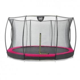 EXIT Silhouette Ground 366 cm szabadtéri kör spirálrugós süllyesztett trambulin - pink
