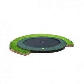 EXIT InTerra GroundLevel 305 cm szabadtéri kör spirálrugós süllyesztett trambulin - zöld