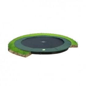 EXIT InTerra GroundLevel 366 cm szabadtéri kör spirálrugós süllyesztett trambulin - zöld
