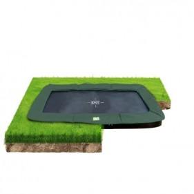 EXIT InTerra GroundLevel 214*366 cm szabadtéri derékszögű spirálrugós süllyesztett trambulin - zöld