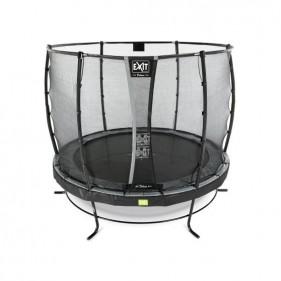 EXIT Elegant Safety Deluxe 253 cm szabadtéri kör spirálrugós talajfelszín feletti rekreációs és kerti trambulin - fekete