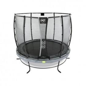 EXIT Elegant Safety Deluxe 253 cm szabadtéri kör spirálrugós talajfelszín feletti rekreációs és kerti trambulin - szürke