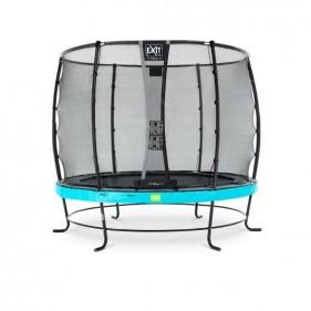 EXIT Elegant Safety Deluxe 253 cm szabadtéri kör spirálrugós talajfelszín feletti rekreációs és kerti trambulin - kék