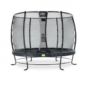 EXIT Elegant Safety Deluxe 366 cm szabadtéri kör spirálrugós talajfelszín feletti rekreációs és kerti trambulin - fekete