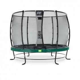 EXIT Elegant Safety Deluxe 366 cm szabadtéri kör spirálrugós talajfelszín feletti rekreációs és kerti trambulin - zöld
