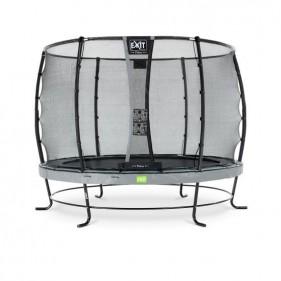 EXIT Elegant Safety Deluxe 366 cm szabadtéri kör spirálrugós talajfelszín feletti rekreációs és kerti trambulin - szürke