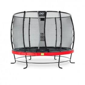 EXIT Elegant Safety Deluxe 366 cm szabadtéri kör spirálrugós talajfelszín feletti rekreációs és kerti trambulin - piros