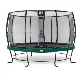 EXIT Elegant Safety Deluxe 427 cm szabadtéri kör spirálrugós talajfelszín feletti rekreációs és kerti trambulin - zöld