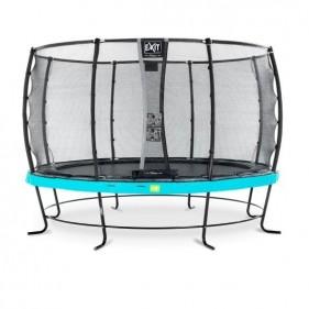 EXIT Elegant Safety Deluxe 427 cm szabadtéri kör spirálrugós talajfelszín feletti rekreációs és kerti trambulin - kék