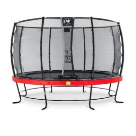 EXIT Elegant Safety Deluxe 427 cm szabadtéri kör spirálrugós talajfelszín feletti rekreációs és kerti trambulin - piros