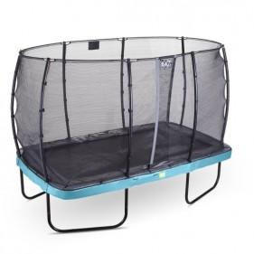 EXIT Elegant Safety Deluxe 214*366 cm szabadtéri derékszögű spirálrugós talajfelszín feletti trambulin - kék